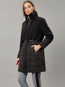 Womens Black Hybrid Funnel Neck Coat