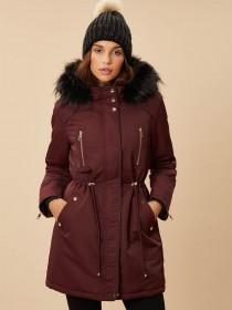 Womens Burgundy Parka Coat