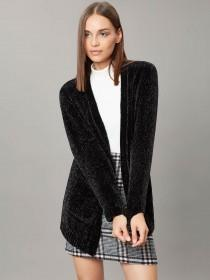 Womens Black Chenille Cardigan