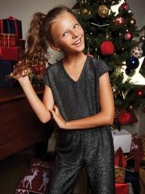 Older Girls Black Sparkle Jumpsuit