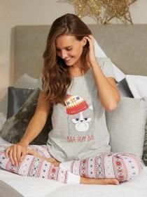 Womens Grey Cat Slogan Pyjama Set