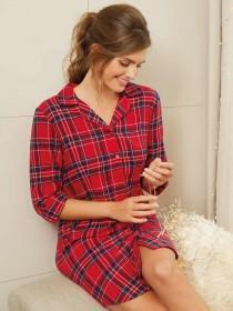 Womens Red Tartan Boyfriend Nightdress