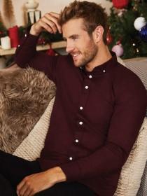 Mens Burgundy Long Sleeve Oxford Shirt