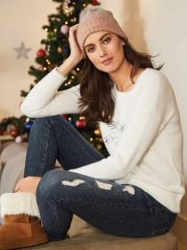 Womens White Feather Knit Snowflake Jumper