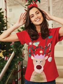 Womens Red Reindeer T-Shirt