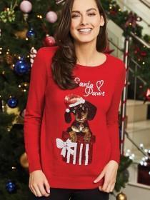Womens Red Sequin Dog Christmas Jumper