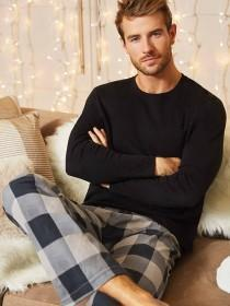 Mens Grey Check Pyjama Bottoms