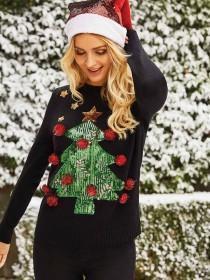 Womens Black Tree Christmas Jumper