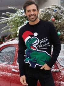 Mens Black Dinosaur Christmas Jumper