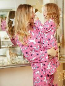 Womens Pink Unicorn Pyjama Set