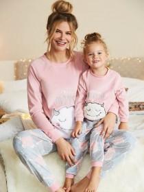 Girls Pink Monster Slogan Pyjama Set