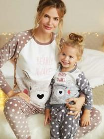Girls Bear Slogan Pyjama Set