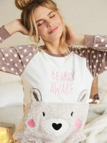 Womens Bear Slogan Pyjama Set