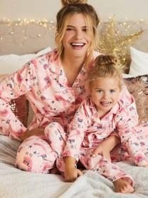 Womens Pink Llama Pyjama Set