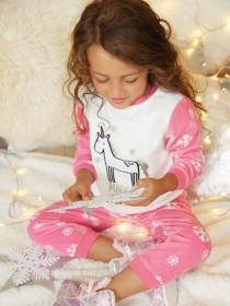 Girls Pink Unicorn Pyjama Set