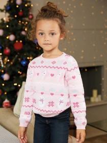 Younger Girls Pink Fairisle Unicorn Christmas Jumper