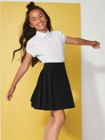 Girls Black Pleated Back To School Skirt