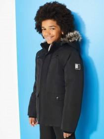 Older Boys Black Borg Lined Parka Coat