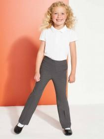 Girls Grey Stretch School Trousers