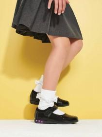 Younger Girls Black Patent Light Up Shoes