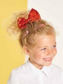 Girls Large Red Bow Clip