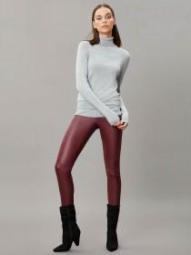 Womens Burgundy Coated Jeggings