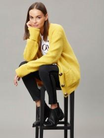 Womens Mustard V-Neck Cardigan