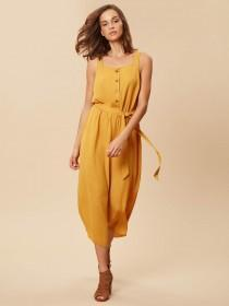 Womens Mustard Button Front Cropped Jumpsuit