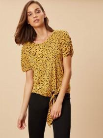 Womens Mustard Animal Print Tie Front Top