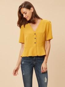 Womens Mustard Button Through Peplum Top