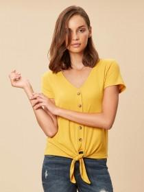 Womens Mustard Ribbed Button Through Top