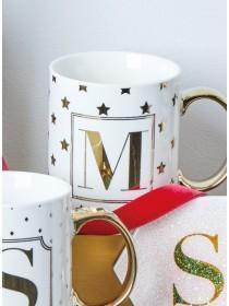 Gold M Initial Mug