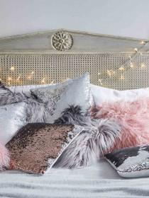 Grey Ombre Faux Fur Cushion