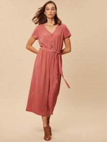 Womens Pink Button Front Jumpsuit