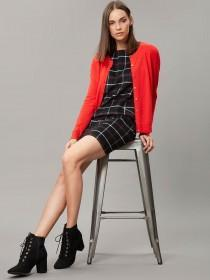 Womens Black Check Brushed Dress