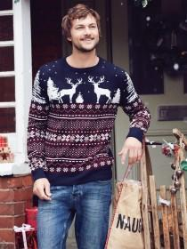 Mens Navy Stag Christmas Jumper