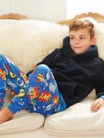 Older Boys Blue Comic Pyjama Set