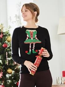 Womens Embellished Christmas Jumper