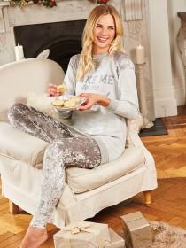 Womens Velvet Leggings Pyjama Set