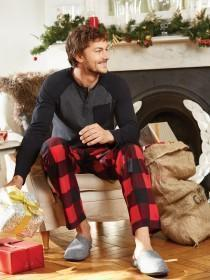 Mens Red Fleece Check Pyjama Trousers