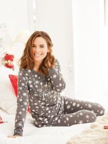Womens Long Sleeve Snowflake Pyjamas