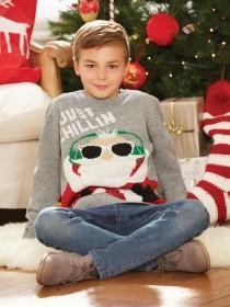 Older Boys Grey Chillin' Santa Jumper