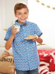 Older Boys Blue Christmas Shirt Set
