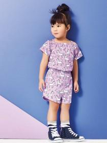 Younger Girls Purple Unicorn Playsuit