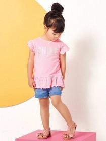 Younger Girls Pink Sequin Shine Slogan T-Shirt