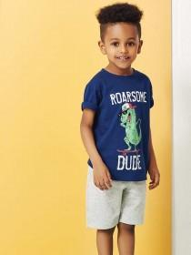 Younger Boys Blue Dinosaur Slogan T-Shirt
