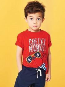 Younger Boys Red Slogan T-Shirt
