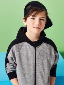 Older Boys Black Metallic Zip Hoody