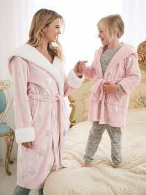 Womens Pale Pink Star Dressing Gown