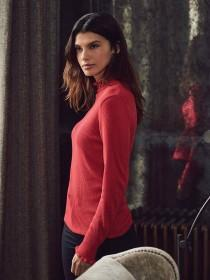 Womens Red Frill Neck Jumper